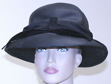 """WOMEN'S HAT JAN LESLIE tightly weaved STRAW BRIM WIDE BOW BLK 21"""" circumference"""