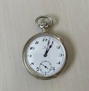 ANTIQUE 1918 OMEGA GENTLEMANS  POCKET WATCH  SOLID SILVER  HALLMARKED WORKS WELL