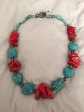 Blue and Red Turquoise Chunky Necklace w/ Silver Beads - 20 inches long!