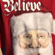 Men's Christmas Santa Face Believe T shirt  Size M Red