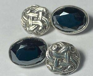 Pair Vintage Sterling Silver Cufflinks Celtic Style & Semi Precious Stone fkkk