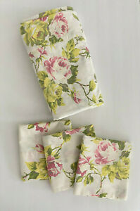 Pine Cone Hill King Flat Sheet 3 Standard Pillow Cases Pink Floral Roses Cotton