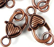 27x13mm Large Antique Copper Pewter Striped Heart Lobster Claw Clasps (5) ~ Lead
