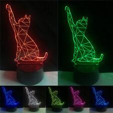 Cat 3D Illusion Desk Night Light 7 Colour Touch Stereoscopic