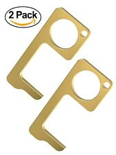 Clean Key Door Opener Tool - Brass No Touch Anti-Microbial Germ Key (2 Pack)