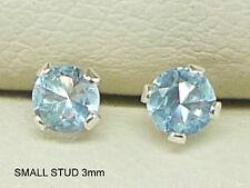 937ba3b1b Aquamarine 925 Sterling Silver Stud Earrings Round 3mm Created Aquamarine  Sk1027