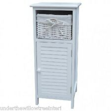 White 1 Door 1 Wicker Lined Basket Bathroom Cabinet Storage Unit