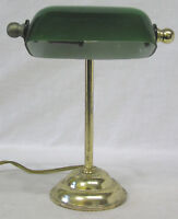 "Vintage Desk or Night Light Bankers Light Green Glass Shade Works 8"" Tall"
