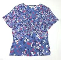 Country Casuals Floral Wrap Top Size S UK 10-12 Blue Ditsy Print Summer Holiday
