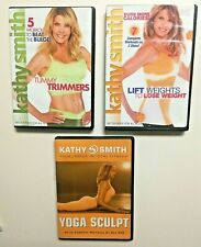 3 Kathy Smith Tummy Trimmer, Lift Weights & Yoga Sculpt Motivational Fitness DVD