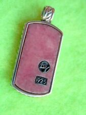DAVID YURMAN Sterling Silver Small Cable Pink Rhodonite Dog Tag