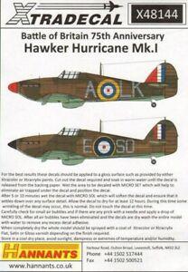 X48144 NEW Xtradecal 1:48 Hawker Hurricane Mk.I Battle of Britain 1940 Pt.1