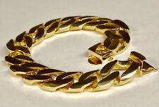 "Mens Bracelet 10"" 125 Grams 15.5Mm 14kt Solid Yellow Gold Handmade Curb Link"