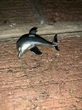 Vintage Costume Jewelry Brooch Pin Silver Pewter Dolphin Porpoise Ocean 2� Long