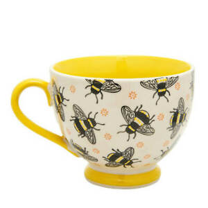 New Sass & Belle Hand Stamped Busy Bees Yellow Ceramic Footed Mug 400ml Cup