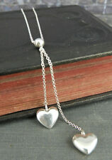 Tiffany & Co. 925 Sterling Silver Double Heart Dangle / Drop Necklace