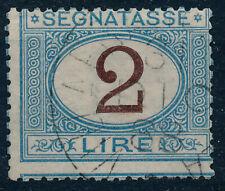 1870 ITALIA REGNO SEGNATASSE LIRE 2 - AZZURRO E BRUNO USATO - RE02-H