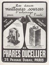 PUBLICITE  PHARES DUCELLIER AUTOMOBILE ACCESSOIRES AUTO  AD  1913 -1H