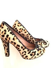 Leather Pony Hair Animal Print court heels Pointed Shoes Stiletto Pumps 5 38 US7
