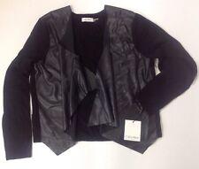 NEW CALVIN KLEIN Black Faux Leather Jacket Sweater Size XL X Large Cardigan Coat