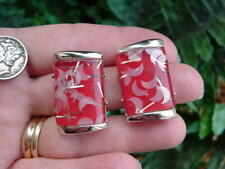 Vintage Lucite - GLITTER CONFETTI clip EARRINGS - red w crescent moons rectangle