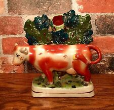 Staffordshire Red & White Cow with Floral Bocage Porcelain Vase Figurine