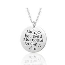 *UK* 925 SILVER PLT 'SHE BELIEVED SHE COULD SO SHE DID' ENGRAVED NECKLACE STAR