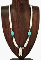 Artisan Hand Carved Bear Spirit Totem Heishe Necklace with Turquoise Accent