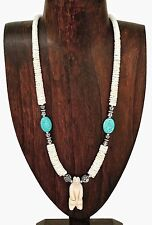 Hand Carved Bear Spirit Totem Heishi Heishe Necklace with Turquoise Accent