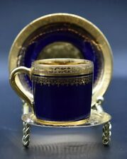 A Lanternier Limoges French Cobalt Blue & Gold Encrusted Tea Cup & Saucer Set
