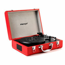 Intempo Red Retro Portable Record Player Bluetooth Rechargeable Suitcase