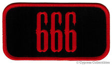 666 iron-on BIKER PATCH MOTORCYCLE EMBROIDERED RED NAMETAG EMBLEM DEVIL evil