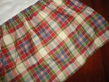 "CHAPS CAPE COD BLUE RED GREEN PLAID RUFFLED (1) KING BEDSKIRT 15""  SPLIT"