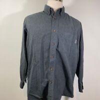 Woolrich Mens Oxford Shirt Gray Long Sleeve 100% Cotton Button Down Collar L