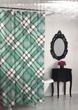 "New Betsey Johnson Shower Curtain Hearts Plaid Fabric Grey Gray Aqua White 72"""