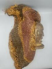 Chokwe Mask with Grass Hair — Great Details — Authentic Carved African Wood Art