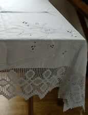 Victorian linen tablecloth Hand made crochet border, hand embroidery & cut work