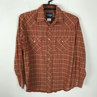 Wrangler Western Shirt Mens Size M Pearl Snap Red ish Orange Plaid Long Sleeve