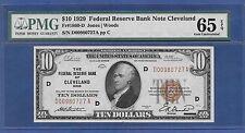 1929 $10  FRBN  ♚♚ CLEVELAND ♚♚  PMG GEM UNC 65 EPQ