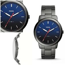 Fossil Minimalist Slim Gradient Blue Dial Stainless Band Men's Watch FS5377 NWT