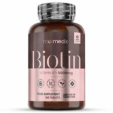 Biotin Tabletten Hochdosiert 12000?g Vitamin B7 - Haare, Haut & Nägel - 365 Stk