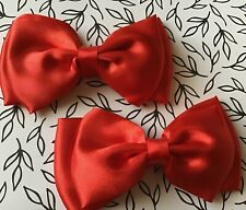 NEW PACK 2 RED 9cm SATIN FABRIC DOUBLE BOW HAIR CLIP METAL GRIP SLIDE GIRLS