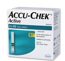 ACCU CHEK ACTIVE 100 TEST STRIPS NEW STOCK EXP October 2019