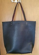 Large Abercrombie & Fitch Leather Shoulder Bag Purse Tote Black Brown