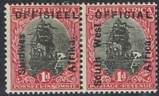 SOUTH WEST AFRICA 1927 OFFICIAL SHIP 1D PAIR