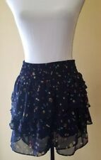 American Eagle Skirt Tiered Navy Blue Floral Chiffon Short Mini Skirt Size M