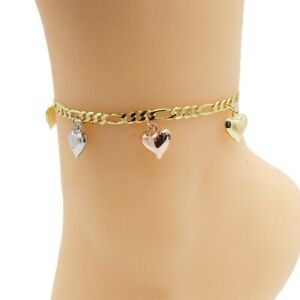 """18k Layered real gold filled anklet bracelet three tones with hearts charms 10"""""""