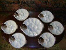 Antique Longwy French Majolica 7 Piece Oyster Plate Set ca. 1920's