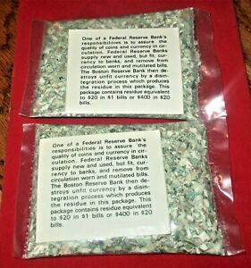(2) Shredded Money Bags Boston Federal Reserve Bank Currency Residue