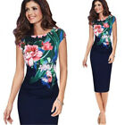 Elegant Womens Office Lady Formal Business Work Party Floral Pencil Midi Dress